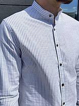 Чоловіча сорочка блакитного кольору в смужку, фото 3
