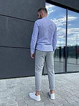 Чоловіча блакитна сорочка в смужку, фото 2