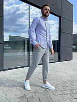 Чоловіча блакитна сорочка в смужку, фото 3