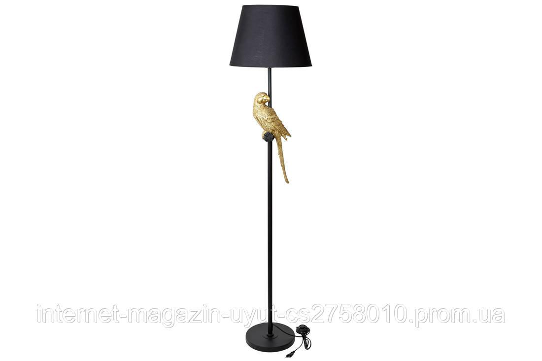 Торшер напольный 165см с декором Попугай и тканевым абажуром, цвет - черный с золотом