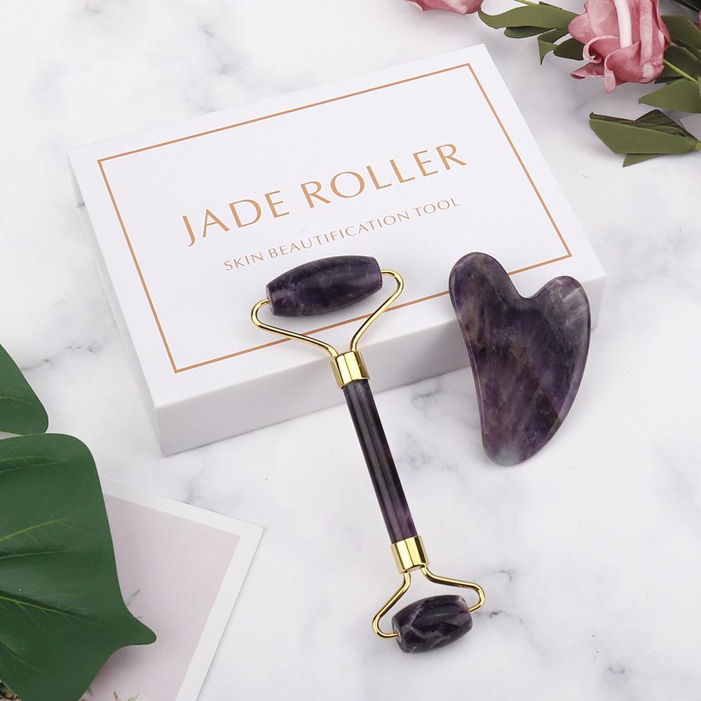 Скребок гуаша і масажний ролик з аметисту в подарунковій коробці