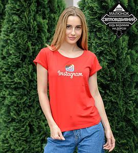 -Р- Футболка женская с отворотом Instagram Красный (0928жр), XL