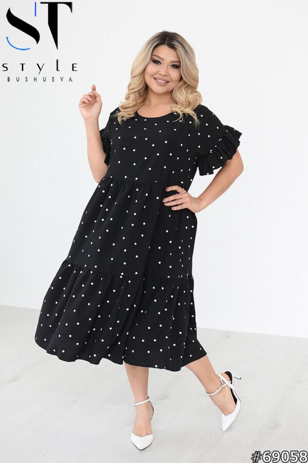 Свободное платье в горошек с оборками воланом, черный, Софт, р.48-50, 52-54, 56-58