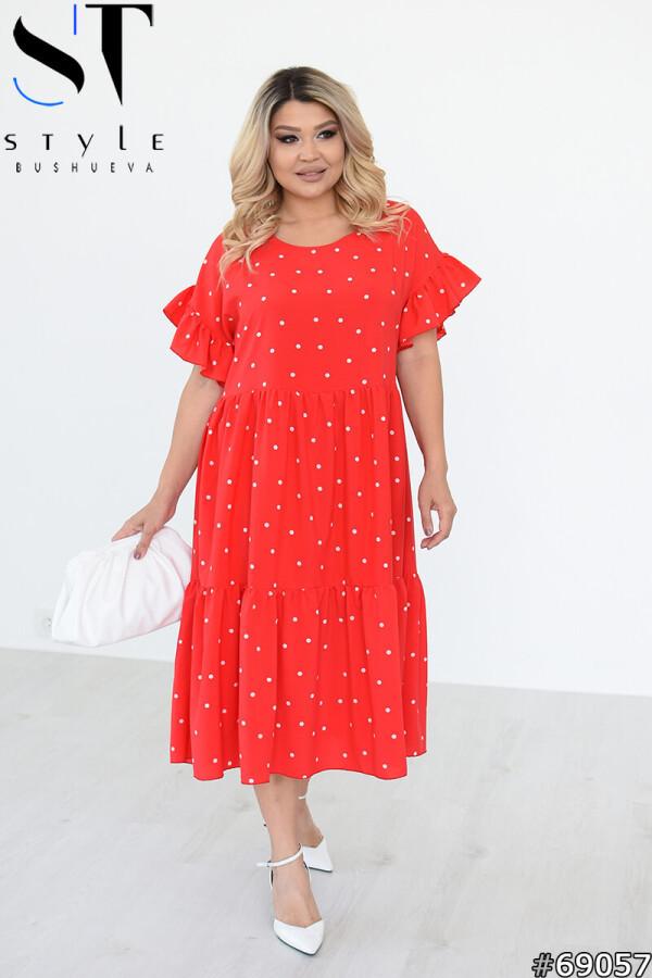 Свободное платье в горошек с оборками воланом, красный, Софт, р.48-50, 52-54, 56-58