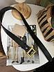 Кожаный ремень чёрный широкий с темно-золотой бронзовой пряжкой бляхой, фото 6