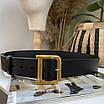 Шкіряний ремінь чорний широкий з темно-золотий бронзової пряжкою бляхою, фото 9