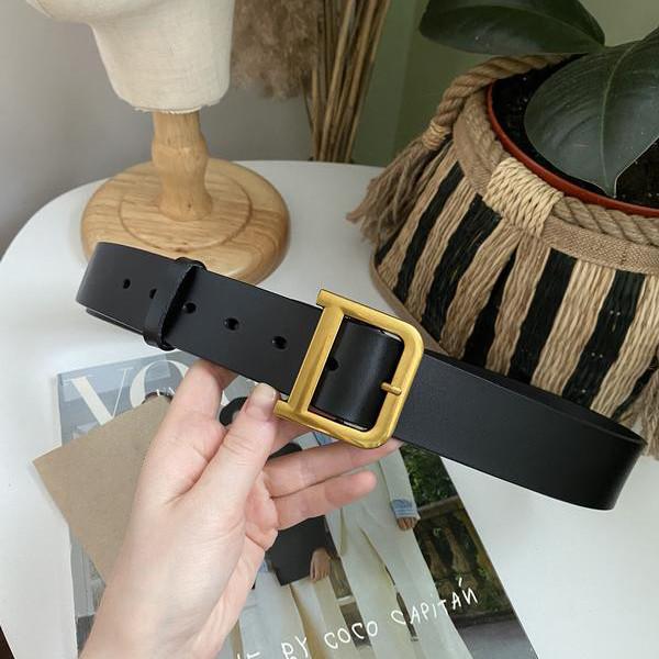 Кожаный ремень чёрный широкий с темно-золотой бронзовой пряжкой бляхой