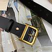 Кожаный ремень чёрный широкий с темно-золотой бронзовой пряжкой бляхой, фото 7