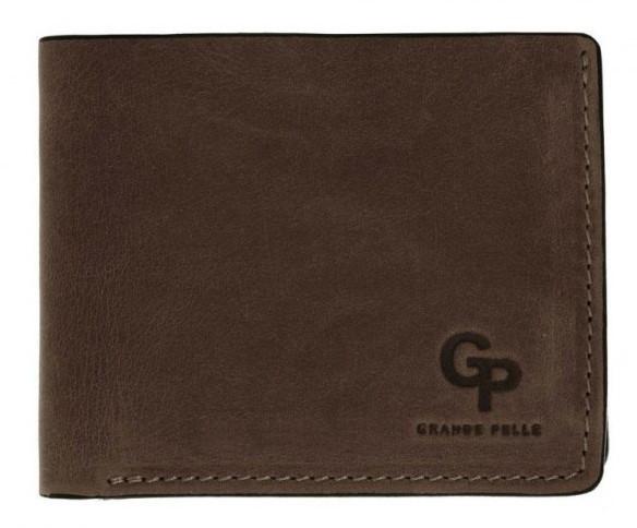 Чоловіче портмоне Grande Pelle з натуральної шкіри, коричнева портмоне для купюр і карток, матове покриття