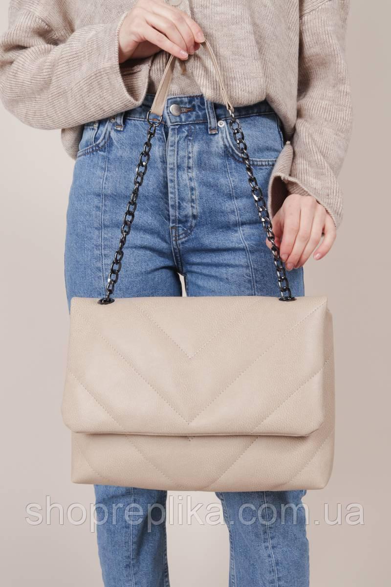 Бежевая Женская сумка кроссбоди бежевые сумки на цепочке модные сумки новинки