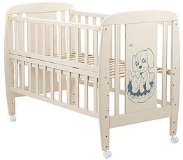 Кроватка детская из бука Собачка с откидной боковой стенкой на колесиках. Babyroom DSO-01 Слоновая кость