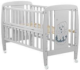 Кроватка детская из бука Собачка с откидной боковой стенкой на колесиках. Babyroom DSO-01 Серая