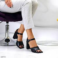 """Жіночі шкіряні босоніжки на підборах Чорні """"Jina"""", фото 1"""