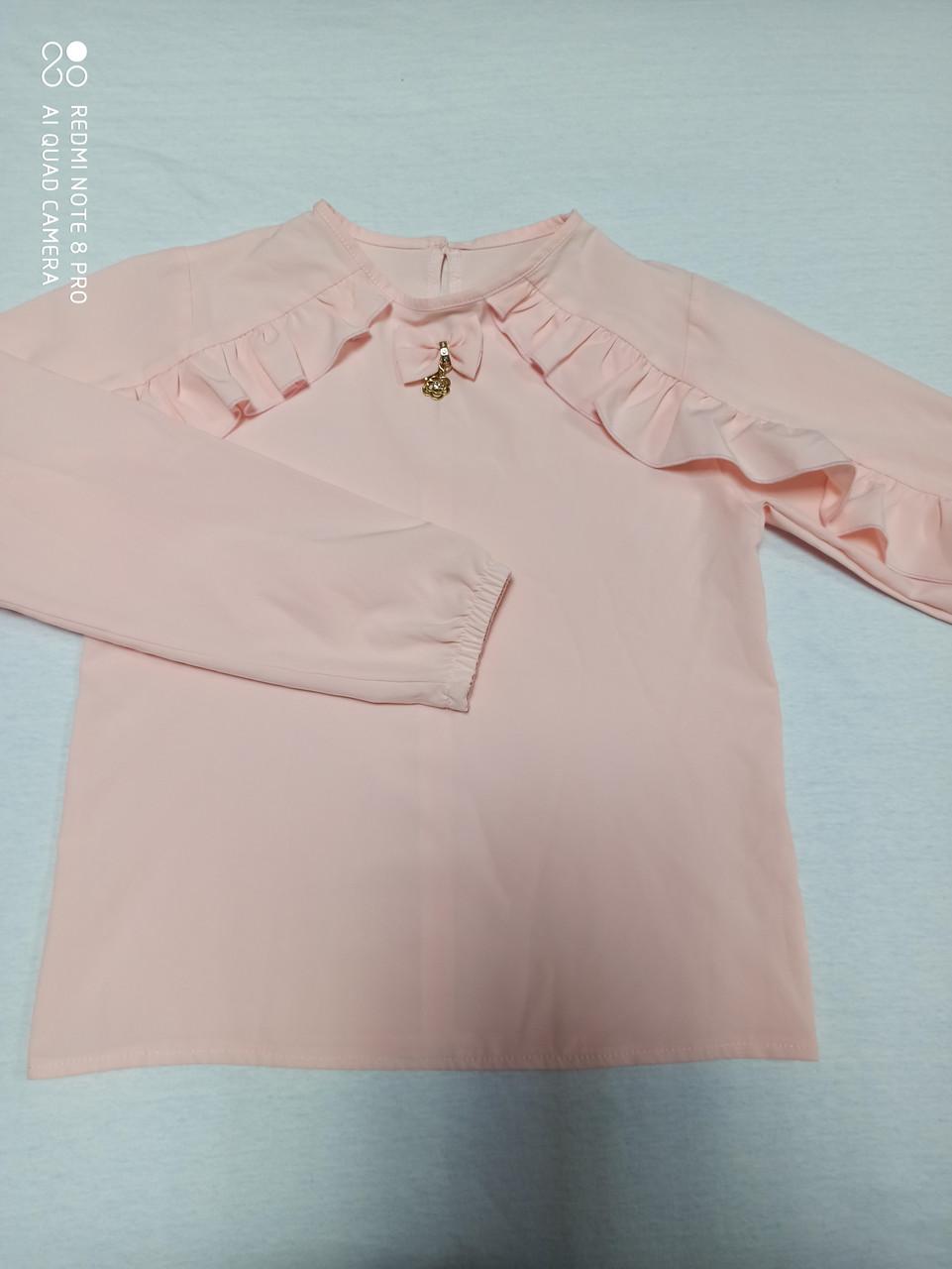 Блузка для девочки персикового цвета с рюшами.Размеры 140.158 рост.