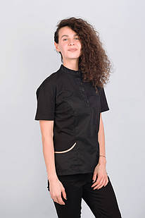 Медичний топ блуза жіноча чорна