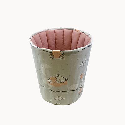 Мешок (корзина) для хранения, Ø30*35 см, (хлопок), (кролики в пудровых футболках на сером)