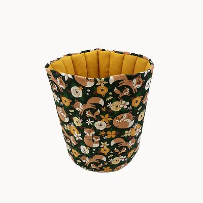 Мешок (корзина) для хранения, Ø30*35 см, (хлопок), (лисички с цветочками на темно-зеленом)