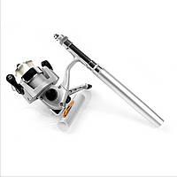 Карманная складная мини ручка удочка в боксе Pocket Pen Fishing Rod + Катушка Чёрная