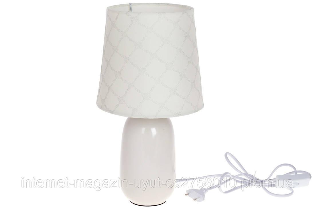 Лампа настільна 34см з порцеляновим підставою і тканинним абажуром, колір - білий