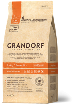 Сухой корм Grandorf Грандорф для стерилизованных котов с индейкой, 2 кг