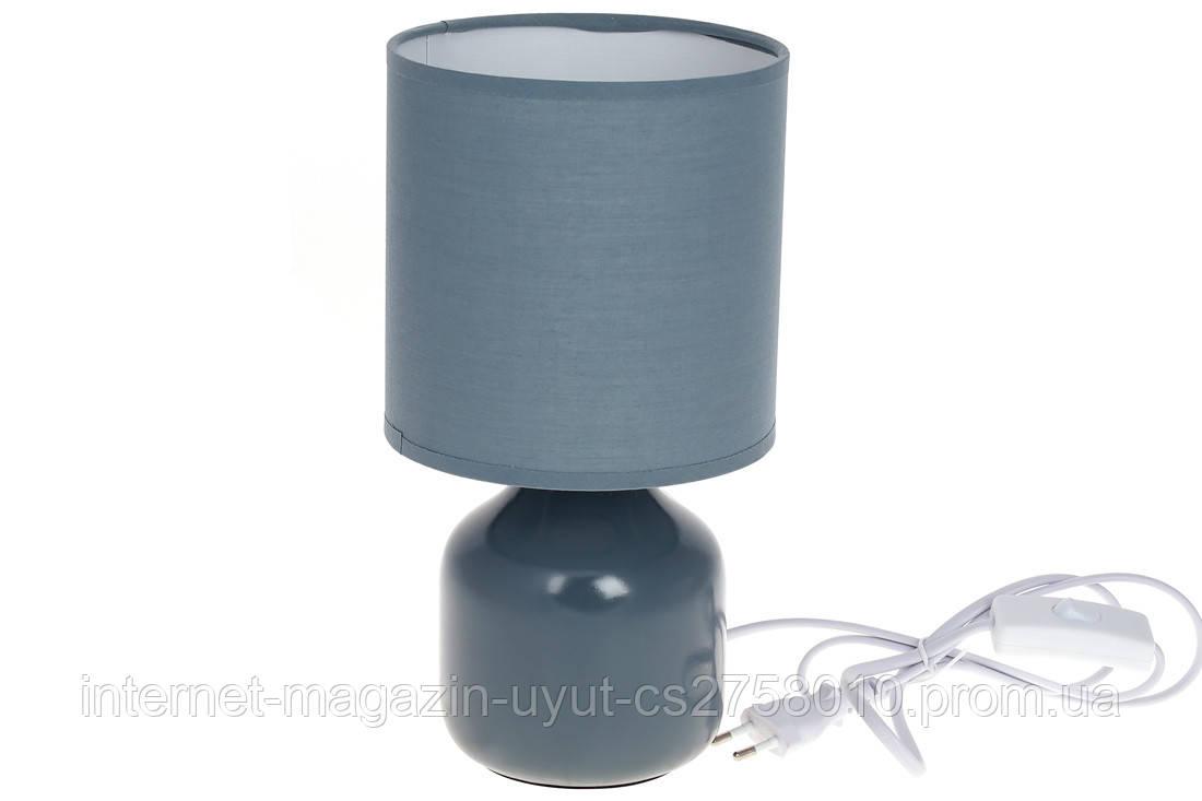 Лампа настільна 26см з порцеляновим підставою і тканинним абажуром, колір - сіро-блакитний