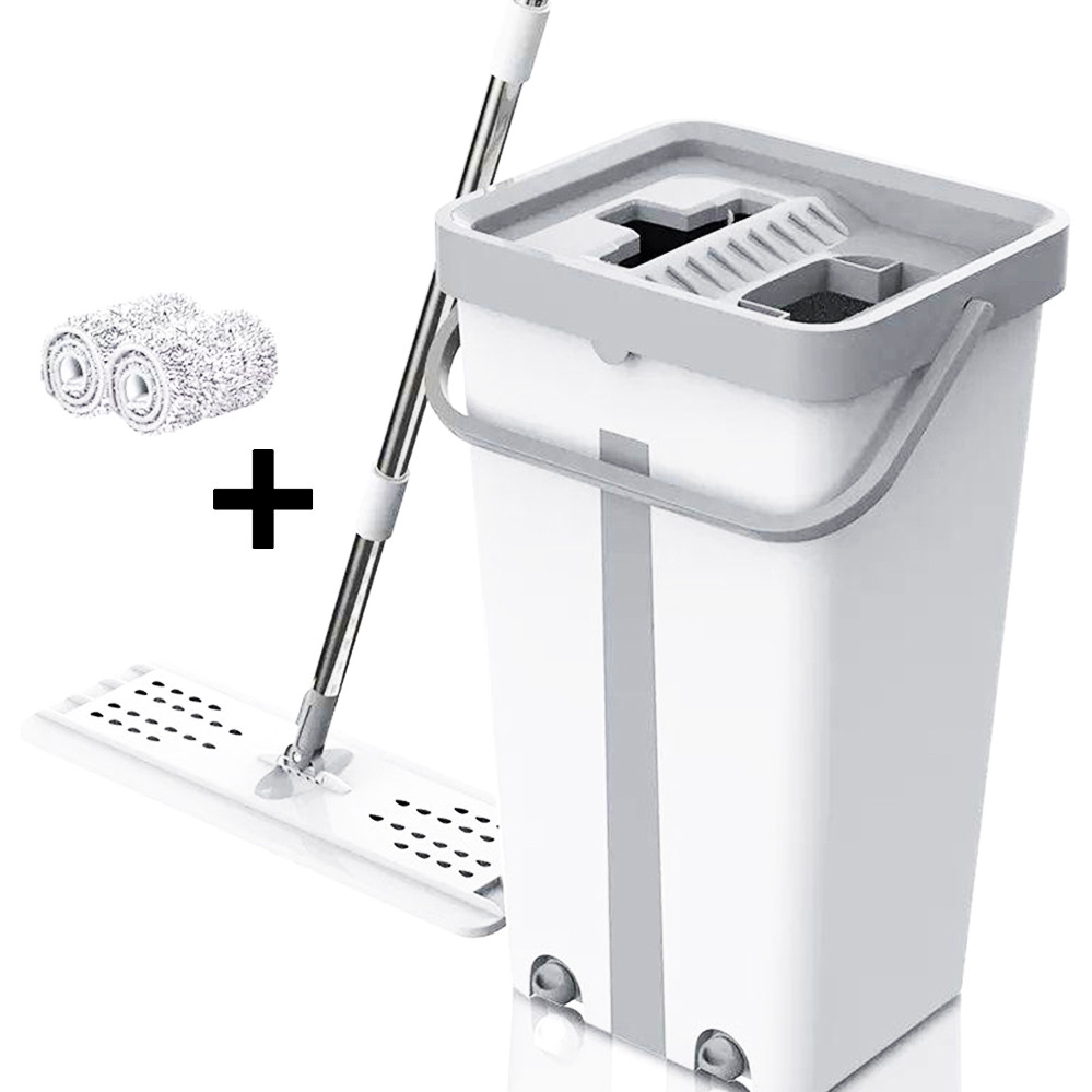 Комплект швабра с ведром с автоматическим отжимом для уборки Чудо швабра лентяйка Scratch Mop серо белая