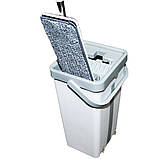 Комплект швабра с ведром с автоматическим отжимом для уборки Чудо швабра лентяйка Scratch Mop серо белая, фото 5