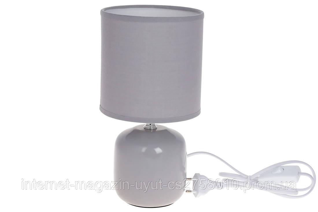 Лампа настольная 27см с фарфоровым основанием и тканевым абажуром, цвет - светло-серый