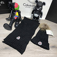 Зимовий комплект Moncler Winter Hat Knitted Pompon and Scarf Black, фото 1