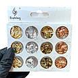 Фольга жатая для дизайна ногтей, в наборе 12 шт. ( золото, серебро, бронза), фото 8