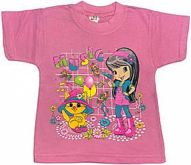 Детская футболка на девочку рост 92 1,5-2 года для малышей с принтом яркая красивая летняя трикотажная розовая