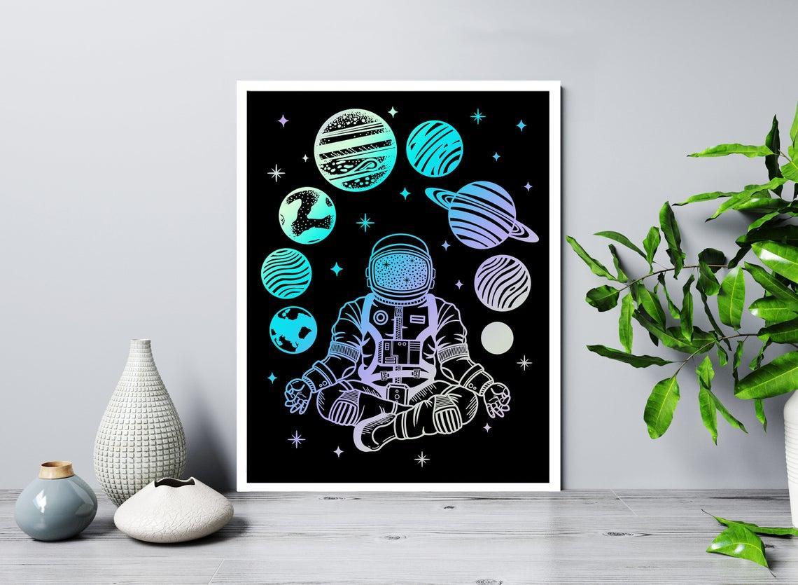 Набор постеров Космонавт медитация формат А3