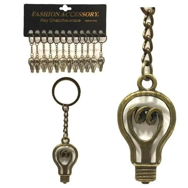 Брелок для ключів металевий Лампочка набір 12 шт