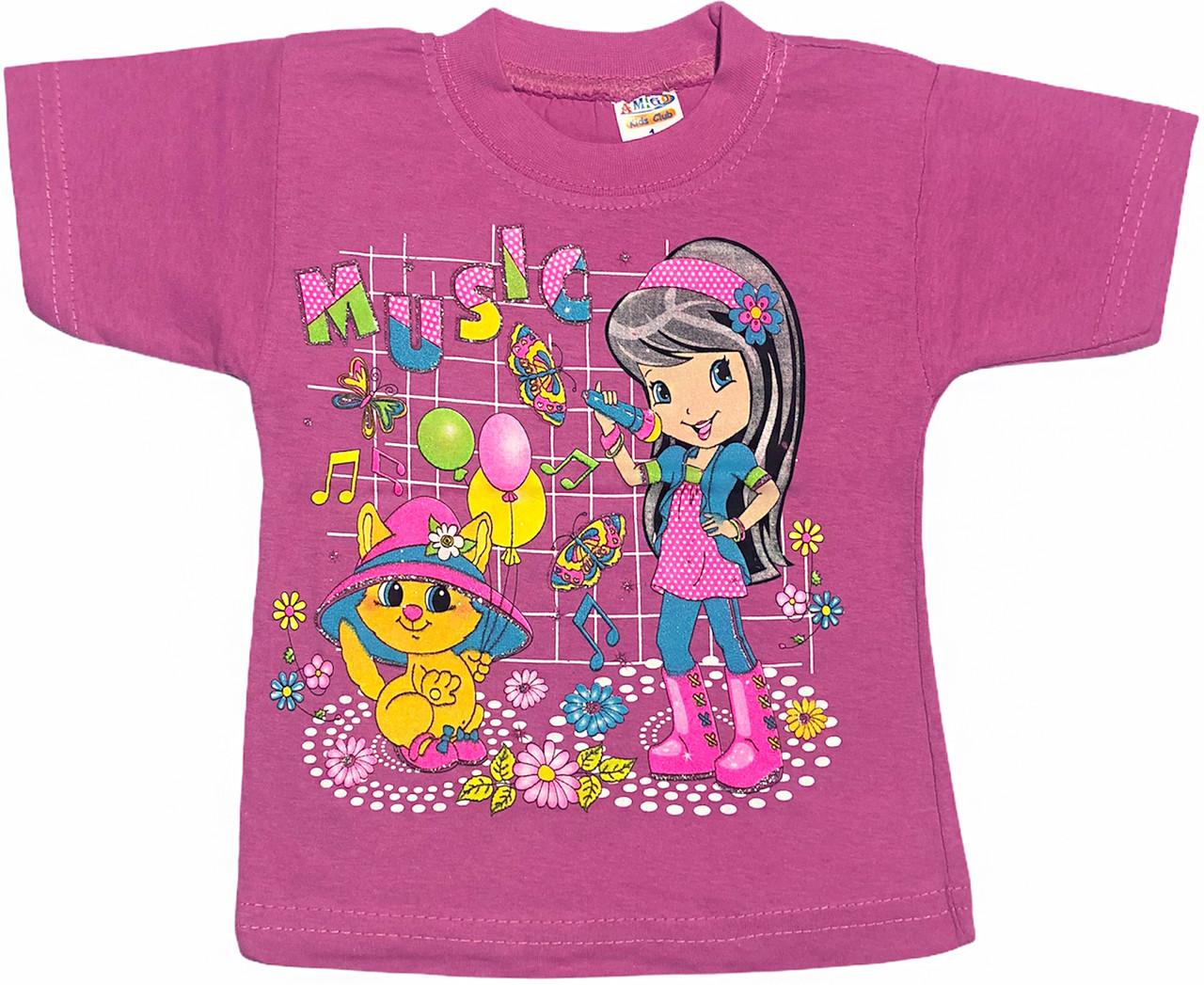 Детская футболка на девочку рост 92 1,5-2 года для малышей с принтом яркая красивая летняя трикотаж сиреневая