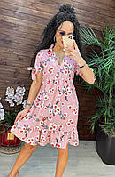 Летние платья - №15319 - Красивое летнее платье трапеция больших размеров с цветочным принтом