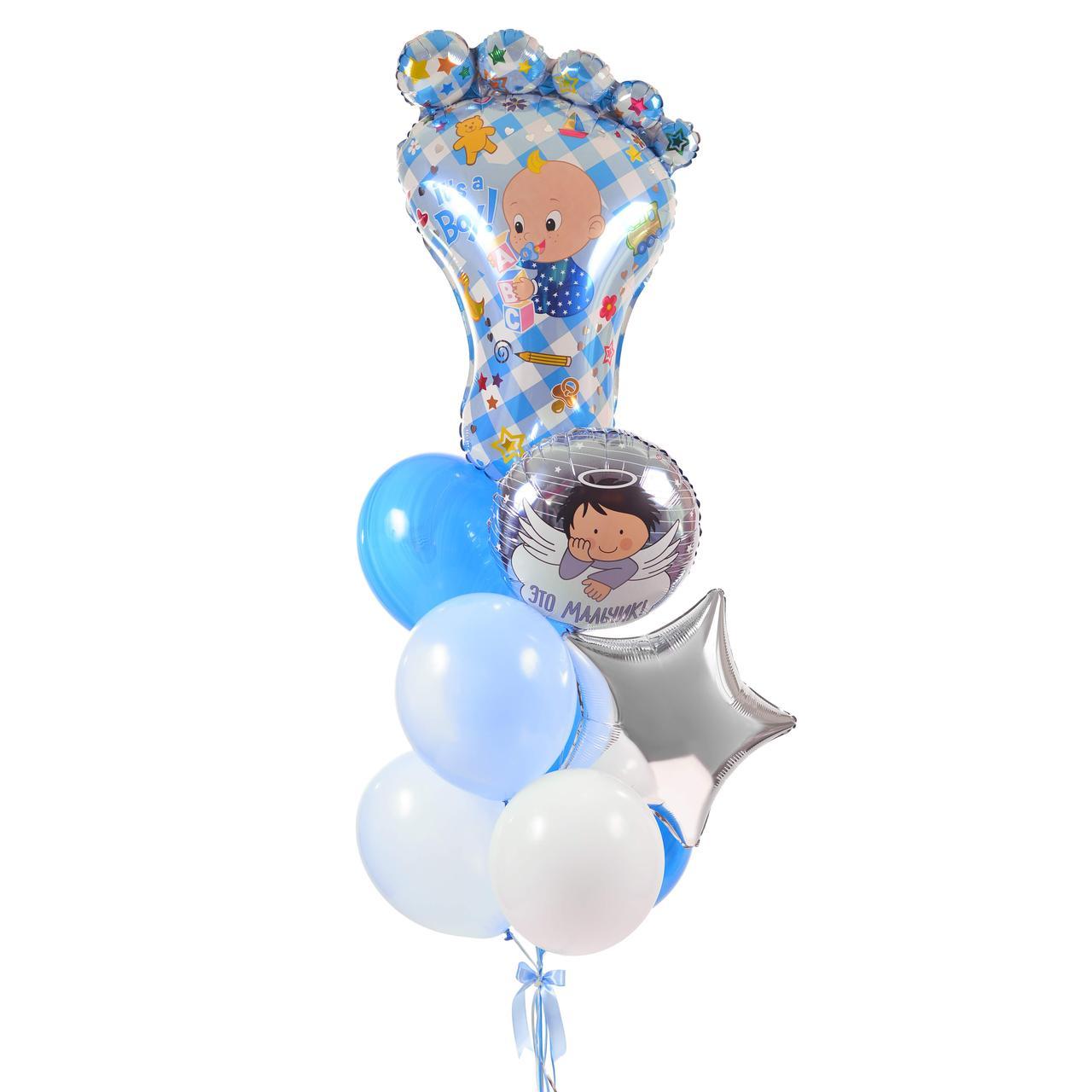 Зв'язка: Ніжка хлопчика, коло Це хлопчик, зірка срібло, 3 блакитних агата, 2 блакитних і 2 білих кулі