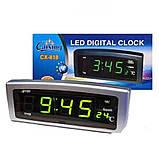 Настольные электронные часы с будильником и термометром CX 818 green, Настольные компактные часы с дисплеем, фото 4