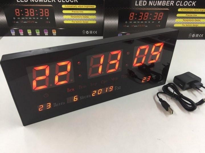 Настенные цифровые электронные часы для дома VST-3615 RED светящиеся, Часы будильник светодиодные