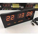 Настенные цифровые электронные часы для дома VST-3615 RED светящиеся, Часы будильник светодиодные, фото 4