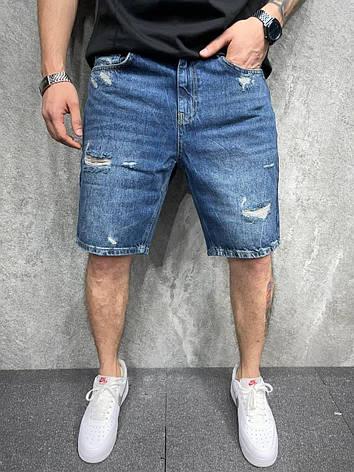 Шорты мужские джинсовые синие рваные по колено Турция, фото 2