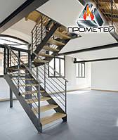П-подобные металлические лестницы открытого типа с перилами из нержавейки или черного металла, фото 1