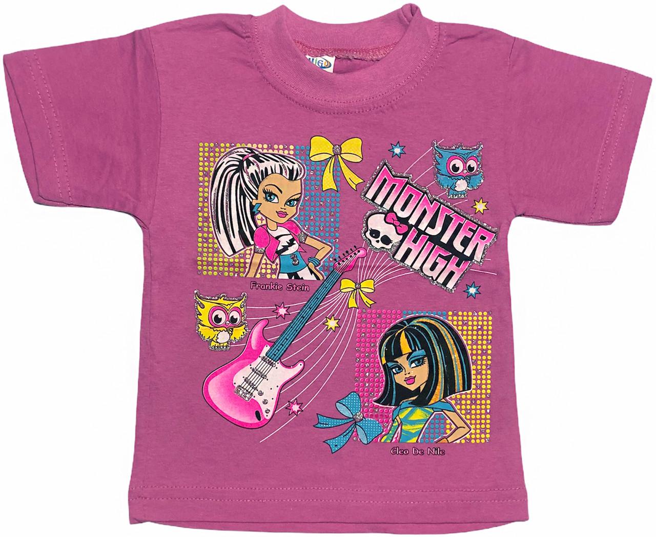 Дитяча футболка на дівчинку ріст 86 1-1,5 року для новонароджених малюків з принтом яскрава трикотажна бузкова