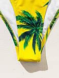 Жіночий купальник бандо жовтого кольору з принтом і топом гумкою (р. S, M, L) 6825893, фото 5