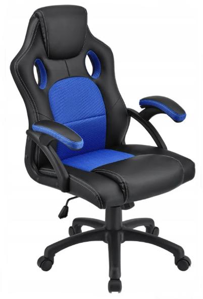 Крісло Офісне Комп'ютерне Геймерське SEAT Чорно - Синє Механізм Гойдання