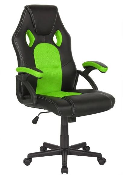 Кресло Офисное  Компьютерное Геймерское SEAT Черно - Зеленое  Механизм Качания