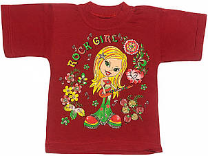 Детская футболка на девочку рост 92 1,5-2 года для малышей с принтом яркая красивая летняя трикотажная красная