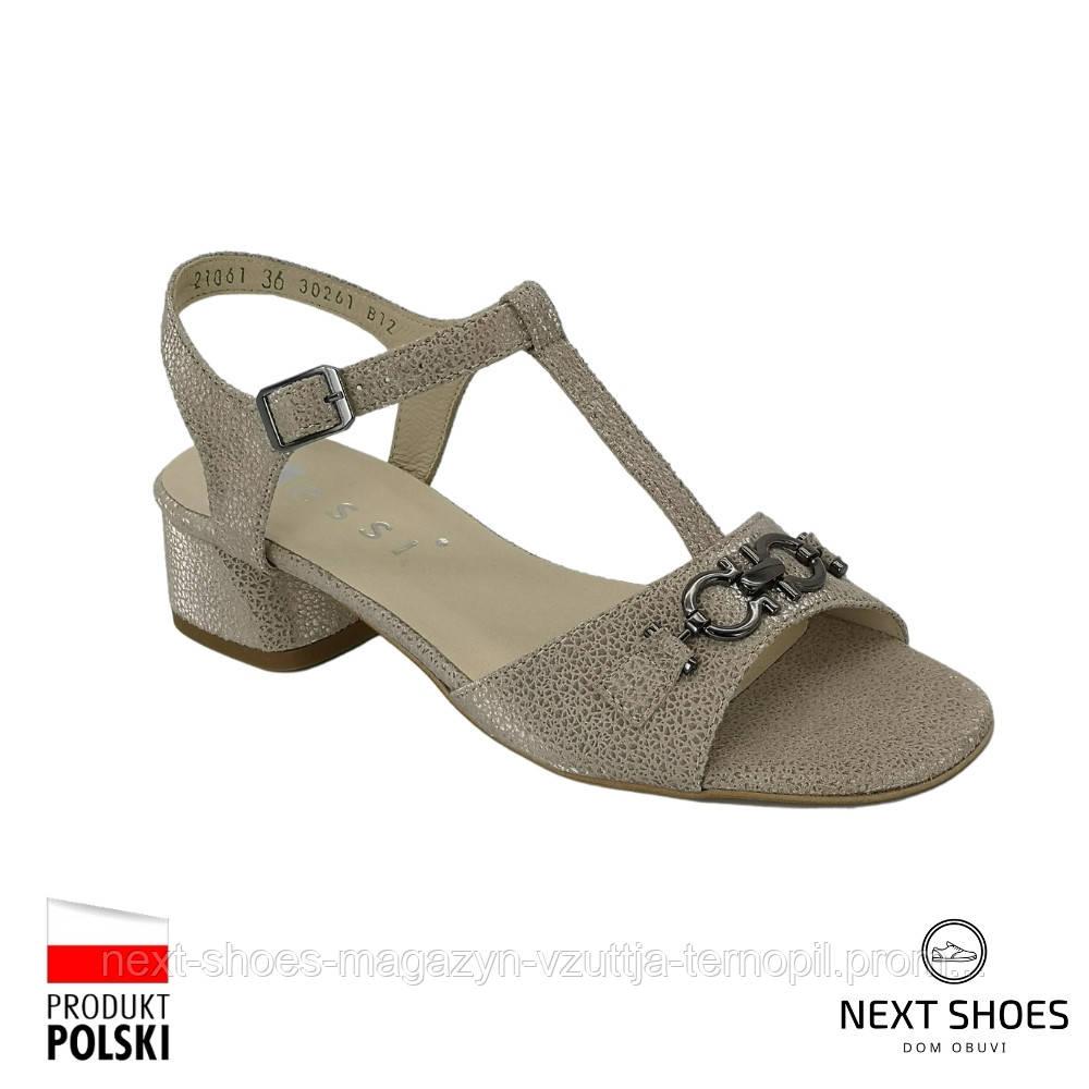 Босоніжки жіночі золотисті Nessi Польща літні арт 21061 zloto PM модель 5034