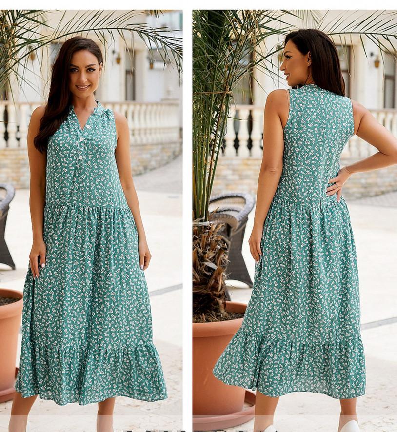/ Розмір 46-48,50-52,54-56,58-60 / Жіноче літнє плаття А-силуету з легкої натуральної тканини / 1033-бірюза