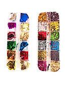 Набор цветной жатой фольги для дизайна ногтей 12 шт. в уп.