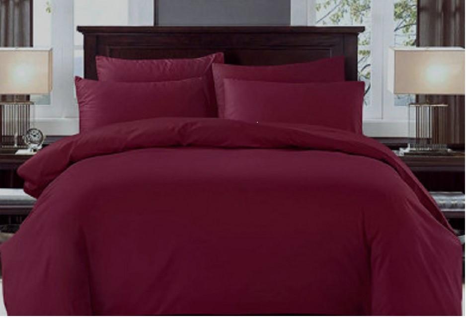 Комплект постельного белья Бязь Gold Евро 220*215 см Бордо